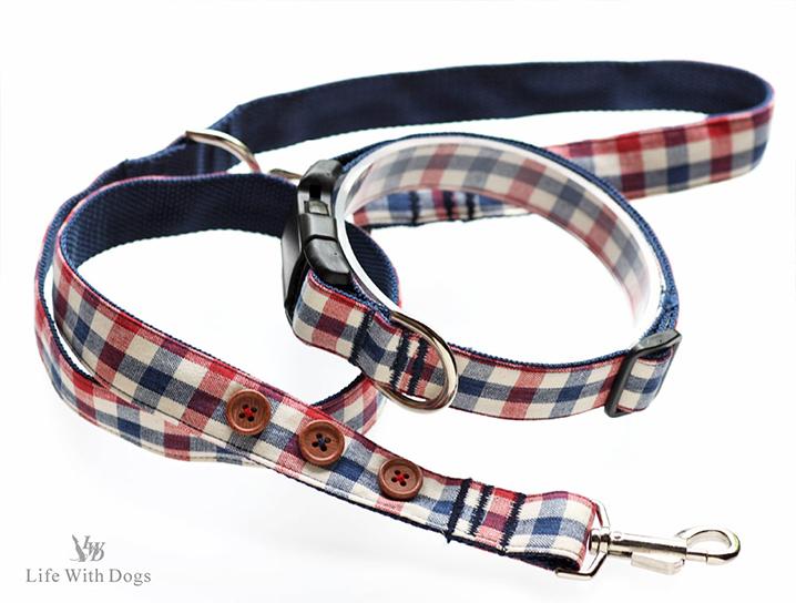 犬と生活 Lトリコチェック カラー リード