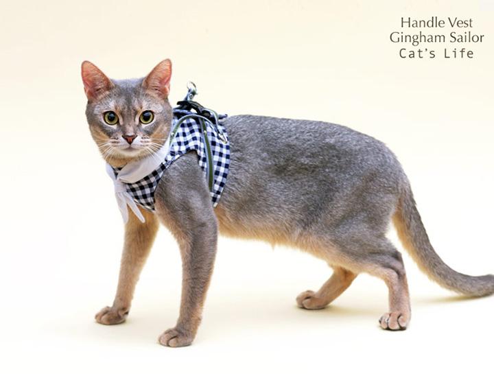 猫の暮らし ハンドルベスト ギンガムセーラー