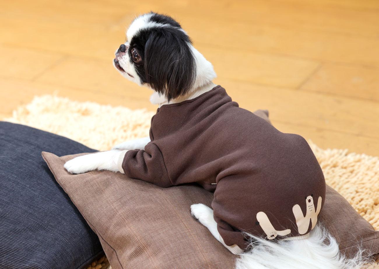 犬と生活 ウォームベアーロンパース 【犬服 冬服 小型犬】