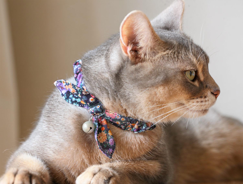 猫の暮らし サイズが変えられるシュシュカラー フラワー 【猫の首輪 シュシュカラー ゴム】